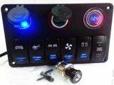デジタルボルトメータ12Vのタバコのソケットの倍USB力の充電器のアダプターのフラッシュ台紙はRV車のボートのための6人の一団のロッカースイッチパネルの黒を防水する