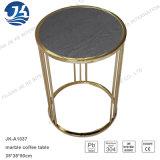 Côté de marbre rond normal noir ou table basse d'acier inoxydable en métal