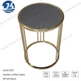 Cara de mármol redonda natural negra o mesa de centro del acero inoxidable del metal