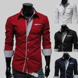 2017 occasionnels Long-Sleeved d'affaires de chemise d'hommes de chemises occasionnelles neuves amincissent la chemise mâle en bonne santé