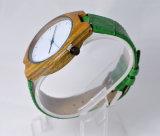 Kundenspezifischer Firmenzeichen-Grün-echtes Lederwristband-hölzerne Uhr
