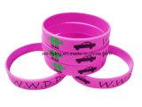 Bracelets personnalisés promotionnels de silicones estampés par logo pour des événements