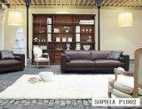 Sofa de cuir de meubles de salle de séjour avec le cuir métallisé pour le sofa à la maison