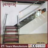 Hölzernes Straight Staircase mit Frameless Tempered Glass Handrail (DMS-2021)