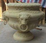 Maceta de las decoraciones de la escultura del jardín del zócalo de la piedra arenisca