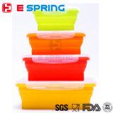 Conjunto del rectángulo de almacenaje plegable del envase de alimento del silicón 4