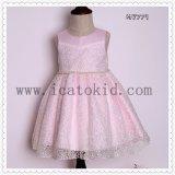 Vestido do Short da menina de flor da corrente da cintura da pérola para o vestido de noite