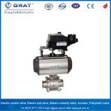 Válvula de esfera sanitária pneumática do atuador giratório