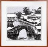 Geborduurd Muurschilderij van het Land van het Water jiang-Nan