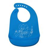 男の子のためのキャッチャーが付いている青い象のHygenicの反細菌FDA/LFGBの承認の赤ん坊の摩耗のシリコーンの胸当て