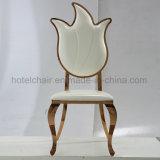 Самомоднейший стул PU Stactable белый обедая с ногами крома нержавеющей стали
