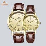 Relógio de marca de pulso de amante de casal de couro genuíno de alta qualidade 70014