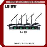 Ls-Q6 microphone de radio de fréquence ultra-haute d'audio numérique de glissières du professionnel 4