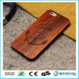 Реальный естественный высеканный деревянный трудный случай телефона