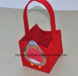 カスタム赤のフェルトのハンドル袋、非編まれた袋
