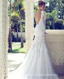 Vestidos de casamento Z8018 do laço da pena da sereia dos vestidos nupciais da V-Garganta