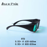 Vidros de segurança 630-660nm&800-830nm do laser da RTD Vlt: 30% para lasers vermelhos, 808nm diodos, 635nm laser, 808nm laser, equipamento da beleza da pele