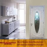Porte en verre blanche faite sur commande en bois solide de peinture (GSP3-047)