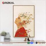 Pintura de pared enmarcada china de la decoración en la lona lista para colgar para la sala de estar