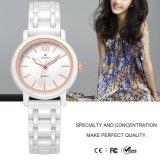 Cuarzo de cerámica blanco Watch71077 de las señoras del reloj del regalo del reloj del nuevo estilo
