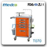 Carrello Emergency dell'ospedale del carrello di anestesia medica dell'ABS per il paziente