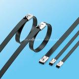 Stärken-Edelstahl-Kleber-überzogener Kugel-Verschluss-Kabelbinder für Elektrizität