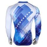 Голубая холодная куртка спортов способа покрывает втулка Breathable быстро сухой задействуя Джерси людей длинняя