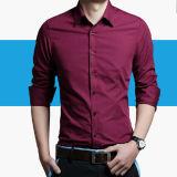 Camisa de vestido longa da luva da forma formal dos homens