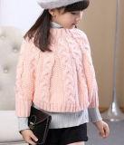 어린 소녀 둥근 고리 접어젖힌 옷깃 꼬이는 꽃 Batwing 전투기 스웨터 외투 Yf201601