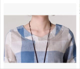 Plusgrößen-Leinenplaid-Hemd für Damen mit rundem Stutzen