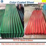 Placa de acero galvanizada cubierta color del material para techos acanalado