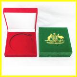 Caixa de moeda vermelha e verde do canguru de Austrália de veludo
