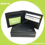 Männliches Geschäfts-echtes Leder, das RFID NFC Mappen-magnetischen Antiscannen-Bank-Kreditkarte-Antihalter abschirmt