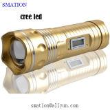 Lanterna elétrica tática recarregável da tocha do diodo emissor de luz do CREE da polícia de alumínio solar da autodefesa da segurança