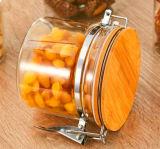 Honig-Glas-Kerze-Glas-gedichtetes Glas-Glas mit gedichteter Faltenbildung-Kappe