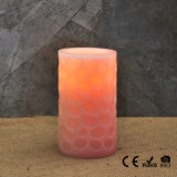 Rosa geschnitzte flammenlose LED-Pfosten-Kerze