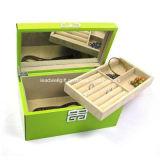 Caja de joyería de laca verde con bandeja extraíble