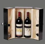 Wine en bois Box avec Chaud-Stamping/Folding Wine Box avec Glass Cup