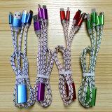 Trenza de nylon 3 de la aleación del Al en 1 cable del USB
