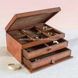 Металлическая кожаный коробка Jewellery большая
