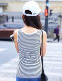Commercio all'ingrosso a strisce della maglietta di abitudine poco costosa delle donne
