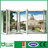 Окно застекленное двойником алюминиевое складывая