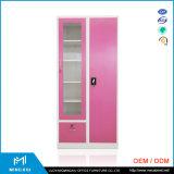 河南Mingxiu 2のドアの赤く安い鋼鉄Almirahのキャビネット/振動ドアの鋼鉄ワードローブ