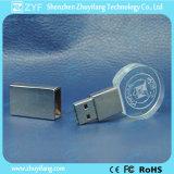 3Dロゴの円形の水晶USBのフラッシュ駆動機構(ZYF1503)