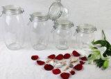 気密のガラス記憶瓶またはキャンデーの瓶またはクリップまたはクランプまたはロックのふたが付いているメーソンジャーまたはスパイスのびんか蝋燭の瓶