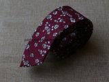 Cravatta scarna del cotone degli uomini floreali Handmade di stampa