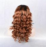 Парик человеческих волос типа способа бразильской курчавой полной связанный рукой
