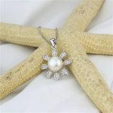 Snh 9mmの白ボタンの実質の真珠のペンダント