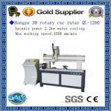 Máquina de mármol de madera barata Ql-1200 del ranurador del CNC del grabado del pilar del precio 3D