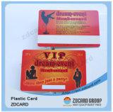 A identificação plástica carda o cartão transparente do PVC do material